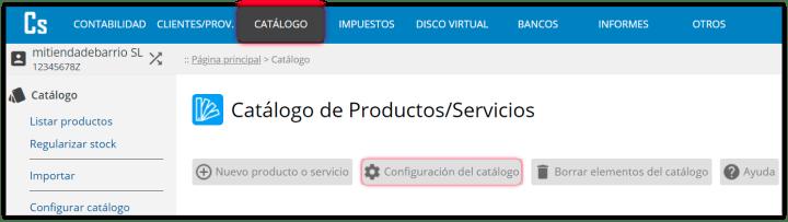 Configuración del inventario de productos