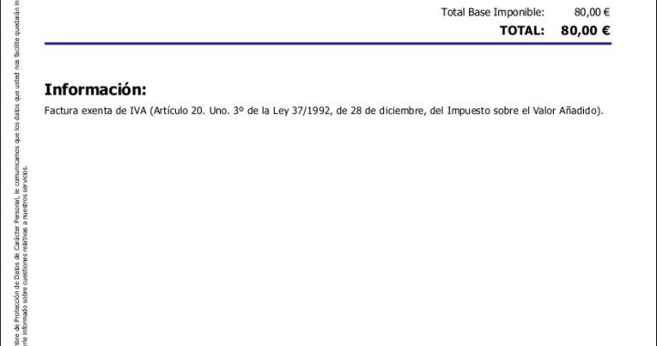 Factura exenta de IVA