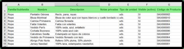 Excel de ejemplo para productos o servicios de catálogo. Columnas A a G.