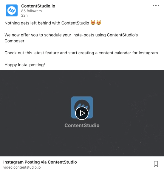 Publish videos to LinkedIn via ContentStudio