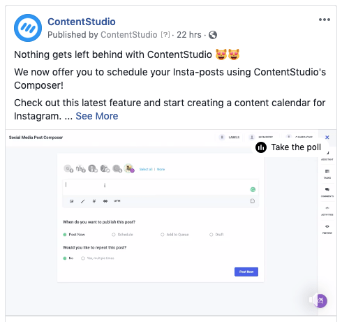 Upload videos to Facebook via ContentStudio