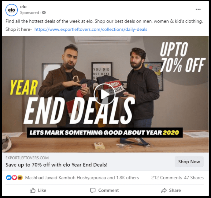 elo year end sale ad on social media