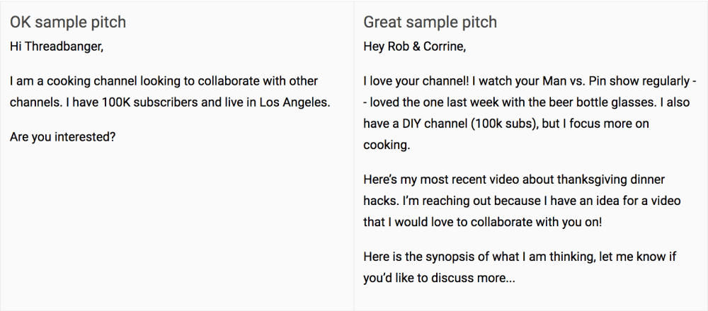 youtube outreach pitch