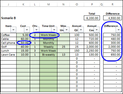 cost savings template excel