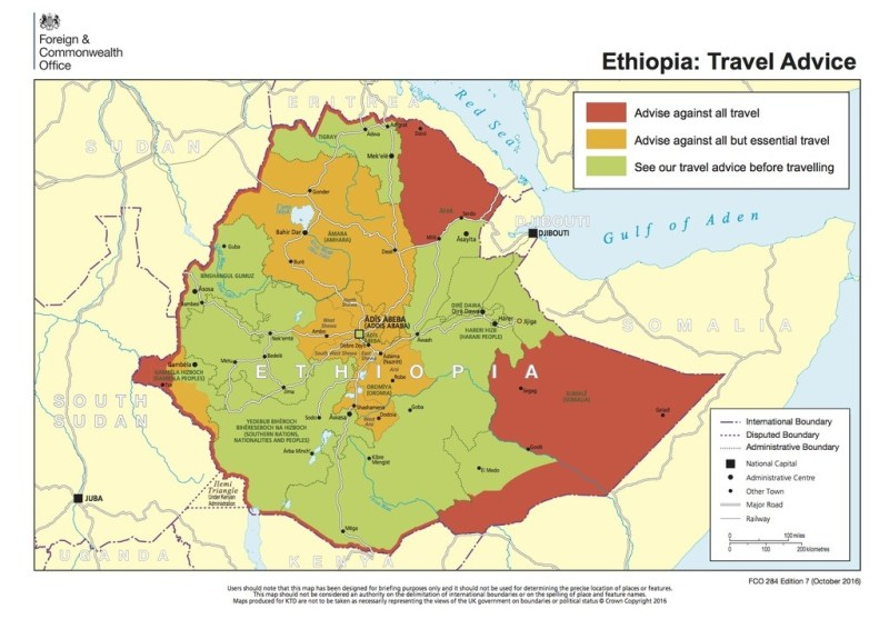 Ethiopia Advisory Uk Travel Avoid Essential Map Tourism Destinations Safety Location And More