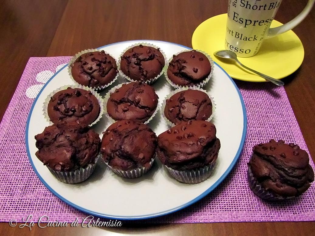 Muffins cacao e cioccolato