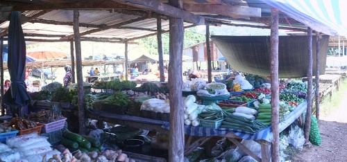 This farmers market somewhere on Ko Lanta was gotten to by scooter, something I'd never ridden before. I only had one fall. Just one! Taken on Dec. 11, 2015.