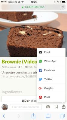 Comparte recetas por Whatsapp