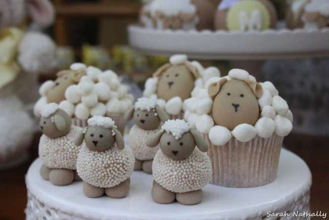 Little Lamb Sweet Table From A Rustic Baby Shower On Kara S Party Ideas