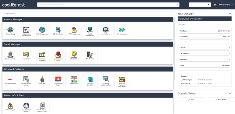 CooliceHost DirectAdmin Interface