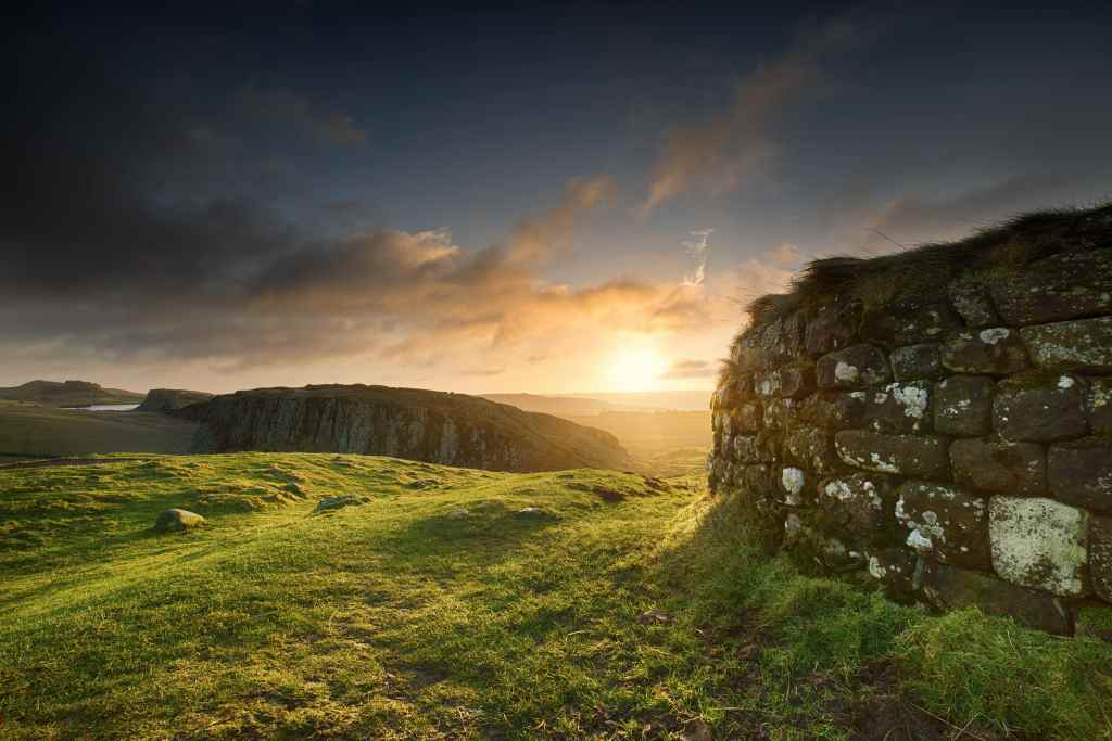 Hadrian's Wall in Northumberland at sunrise