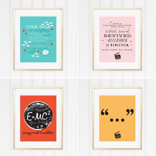 Genius Series Art Prints - Set of 4 - Jules, Audrey, Albert, and Chaplin