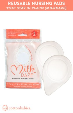 Reusable breast pads that actually stay in place! Read more about MilkDaze. #Cottonbabies
