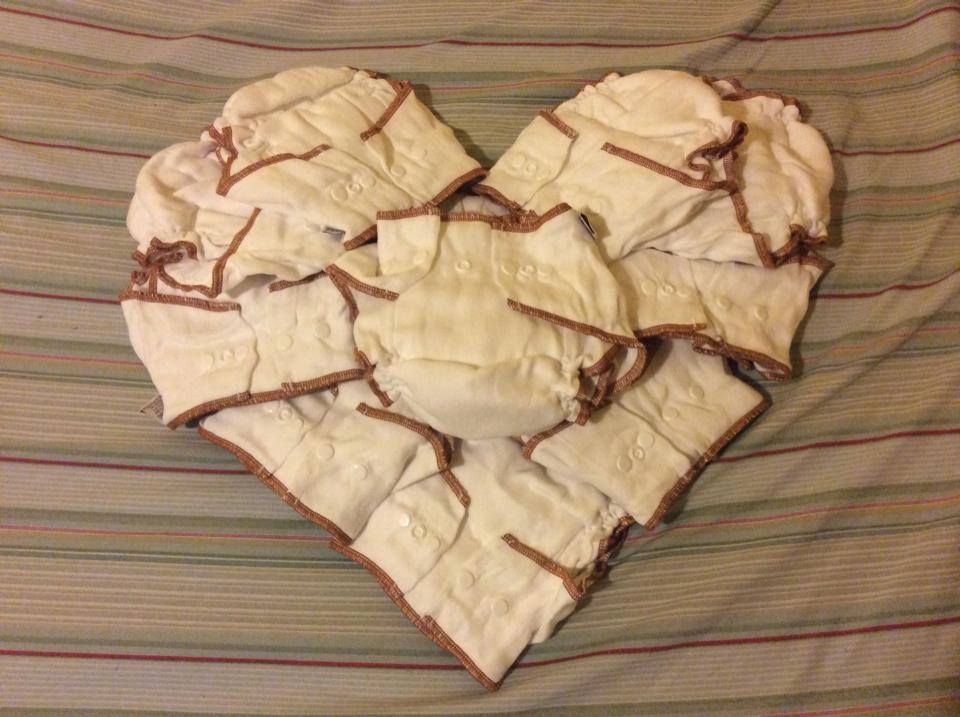 cloth diapers in a heart