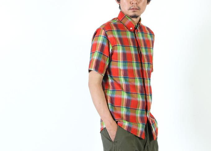 nisica (ニシカ) 半袖チェックボタンダウンシャツ