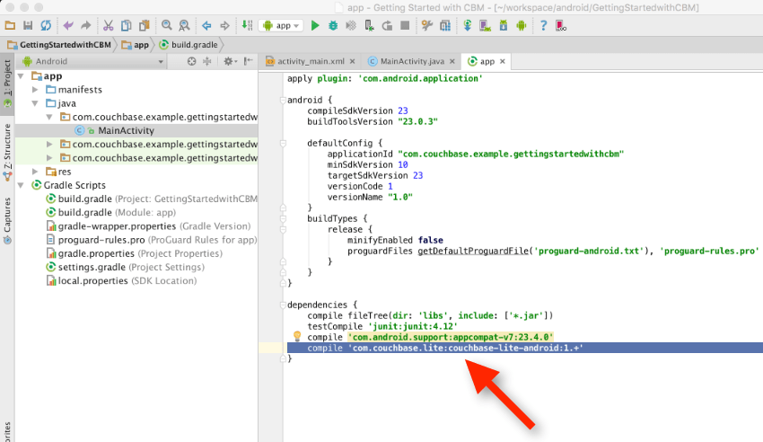 Quickstart with Couchbase Lite, Android Studio, and Gradle