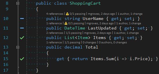 Visual Studio Live Unit Testing code under test