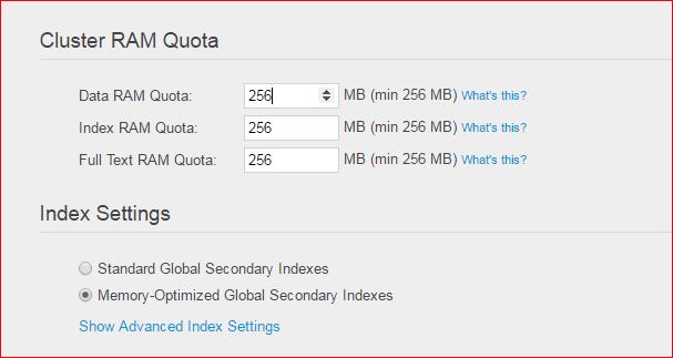 Couchbase Setting Cluster Ram Quota