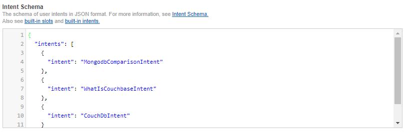 Alexa skills intent schema