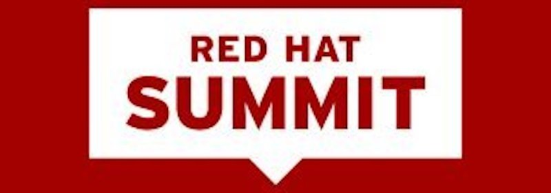 """The words """"Red Hat Summit"""" in red type in a white square that's inside a larger red square"""