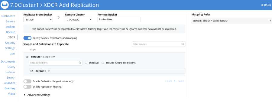 Using cross data center replication (XDCR) from the default Collection to a named Collection