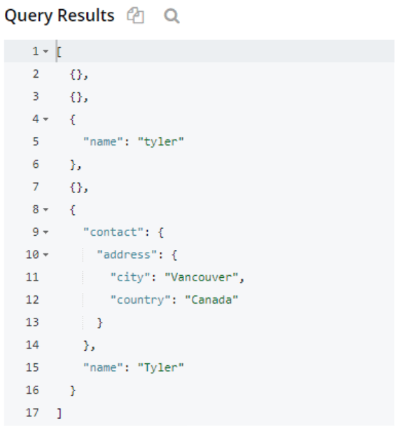 JSON N1QL query showing records containing specific field names