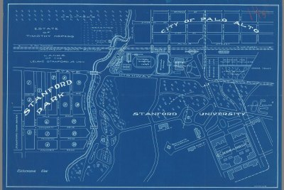 Geospatial Blueprint view of the lands of the Leland Stanford Jr. University, City of Palo Alto and Estate of Timothy Hopkins.