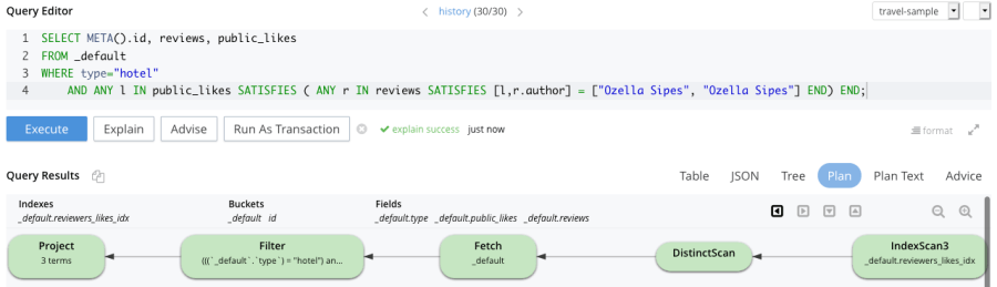 Performant N1QL query using the customised multiple array index