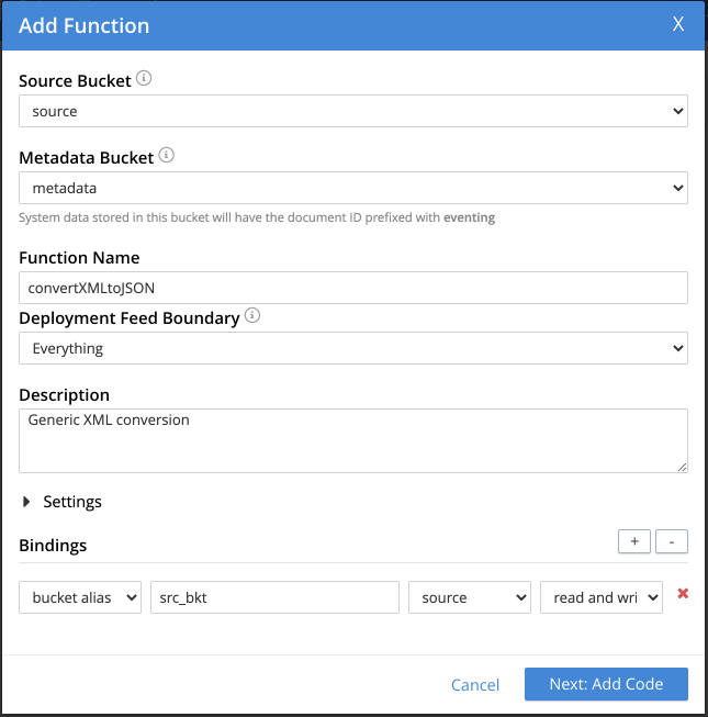 Couchbase add function dialogue box
