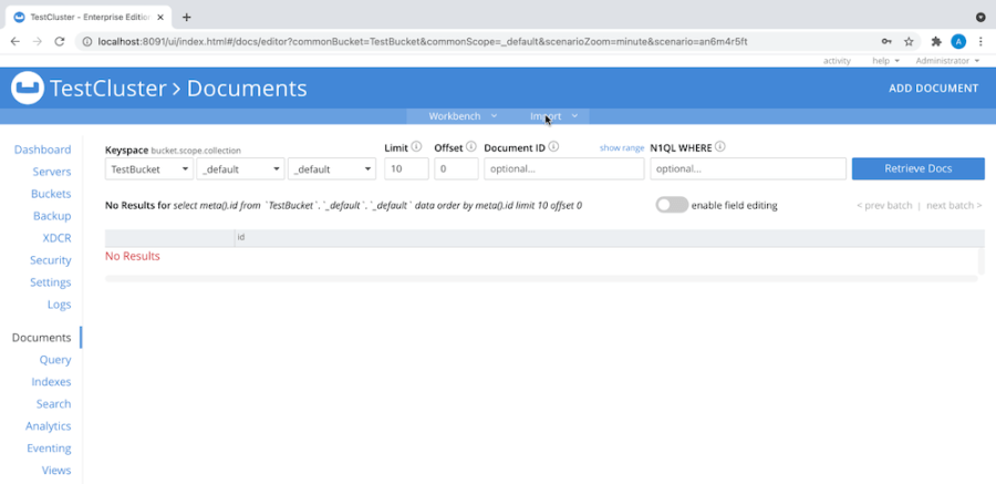 Import the Kaggle advertising dataset documents into Couchbase