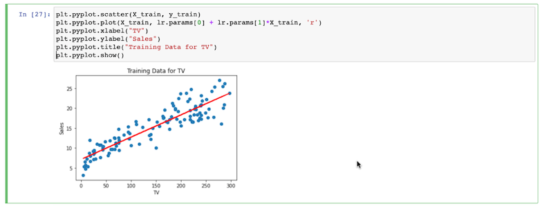 Training data in a Jupyter notebook