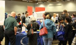 Local employers speak with CPTC students, alumni and community members at the 2017 Spring Career & Job Fair March 2 at the McGavick Conference Center.