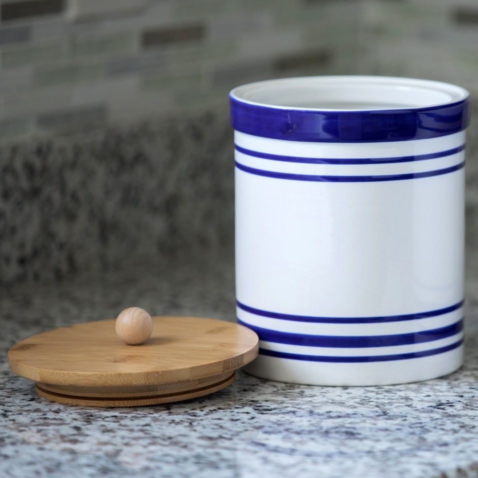 Blue and White Striped Stoneware Cansiter