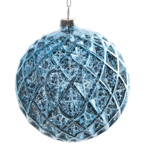 Faceted Blue Glass Ball Ornament