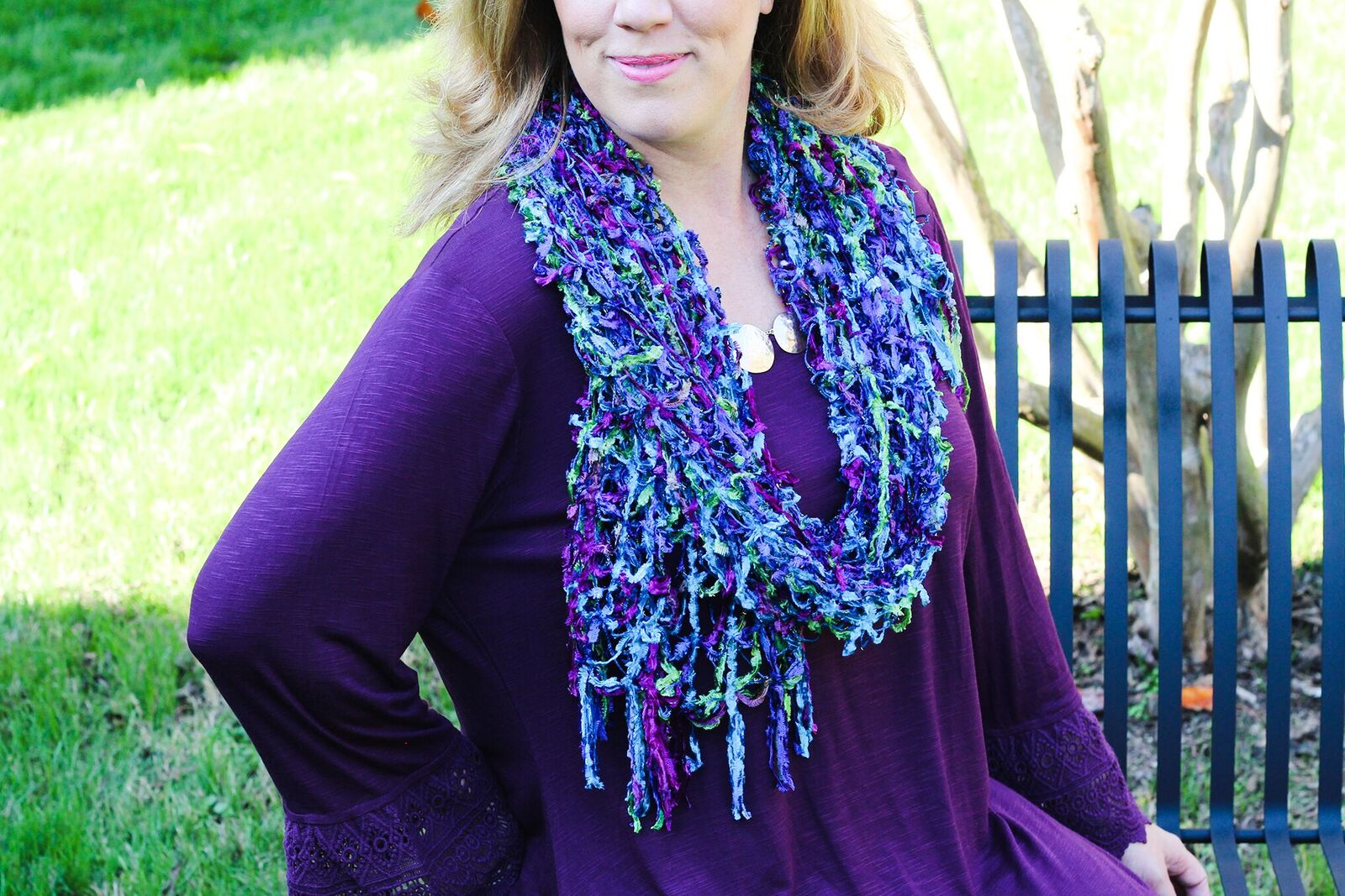 Hammered Necklace 599014 and Ribbon Scarf 598933