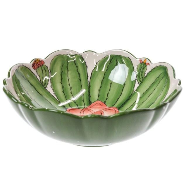 Stoneware Cactus Serving Bowl