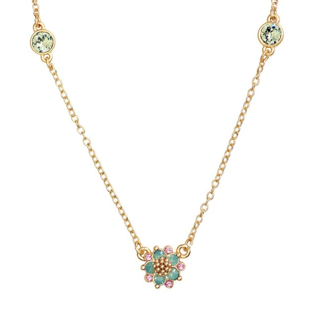 Swarovski Crystal Green Flower Necklace - 14K Gold