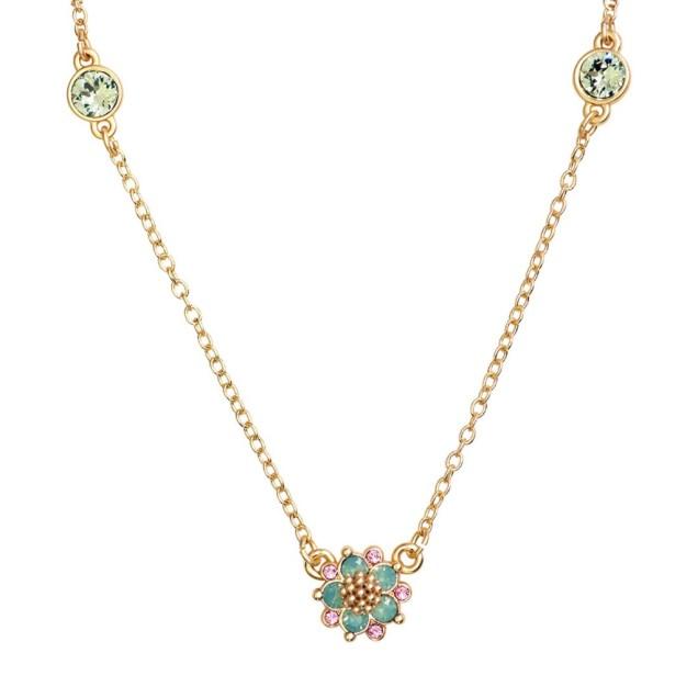 Swarovski Crystal Green Flower Necklace - 14K Gold
