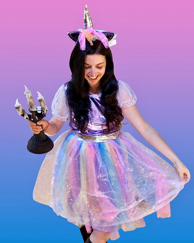 Unicorn Costume and Animated Candles