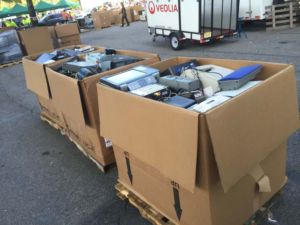 boxes of electronic trash