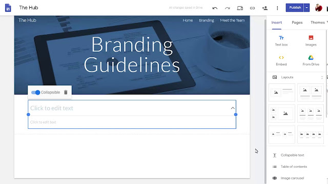 Google Sites announcing New Features