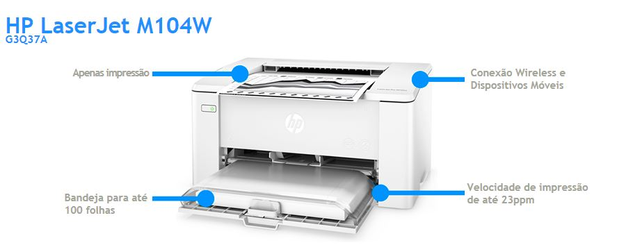Creative Copias Impressora HP LaserJet M104W G3Q37A com Wireless