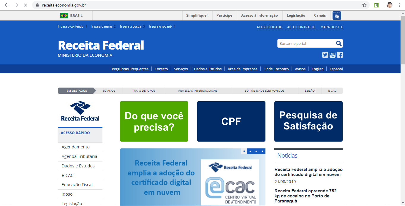 Receita Federal: Imprimir CPF