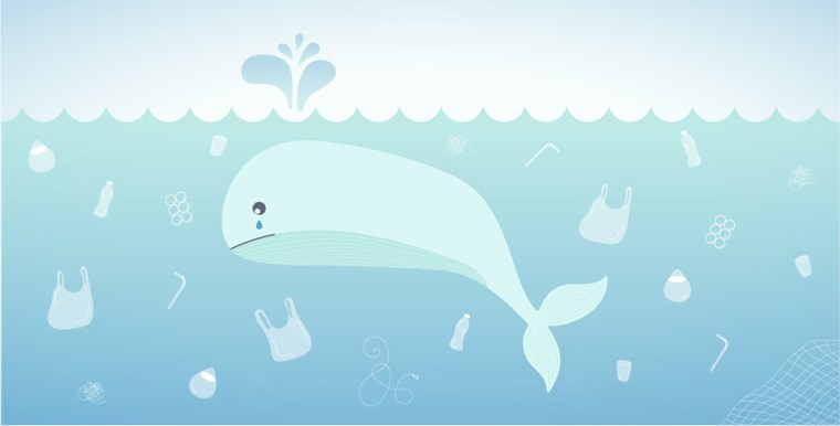 Illustration of a crying whale swimming in an Ocean full of plastic