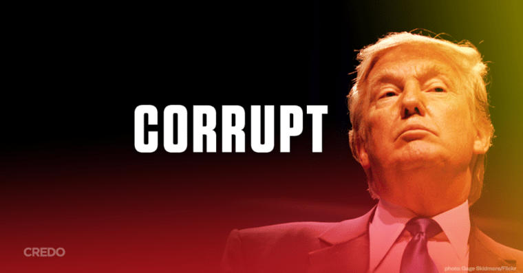 CORRUPT Written next to image of Donald Trump