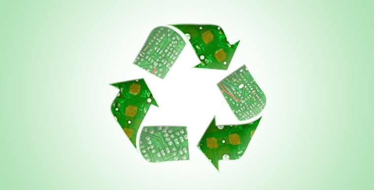 Recycle symbol made from electronic image