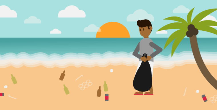 Illustration of man picking up trash on the beach