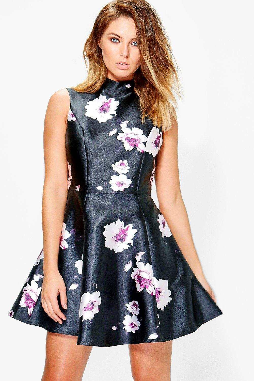 Floral-Satin-Skater-Dress