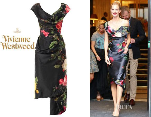 Poppy-Delevingnes-Vivienne-Westwood-Gold-Label-Mini-Cocotte-Floral-Print-Satin-Dress