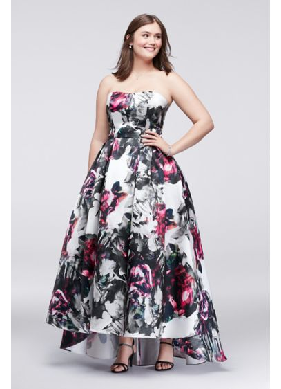 high low plus size ball gown